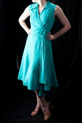Teal Wrap Dress Front