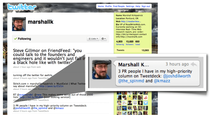Twitter shoutout by ReadWriteWeb's Marshall Kirkpatrick