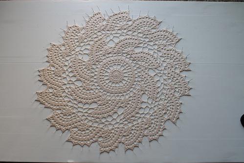 fan doily (blocking process)