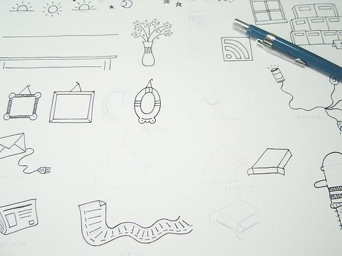 Doodles (rabiscos aleatórios) para o novo site do .marcamaria