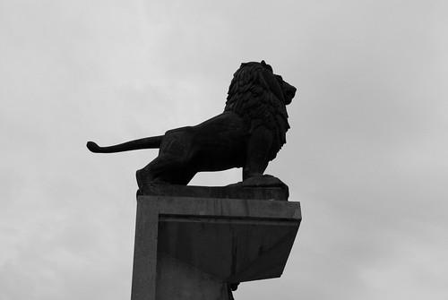 León del puente de piedra o de los leones de zaragoza