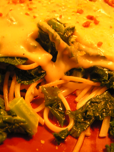 kale, white sauce and noodles