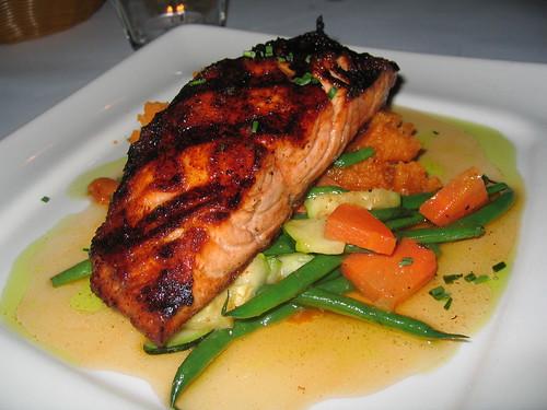 Drew's Bayshore Bistro;  Grilled Salmon