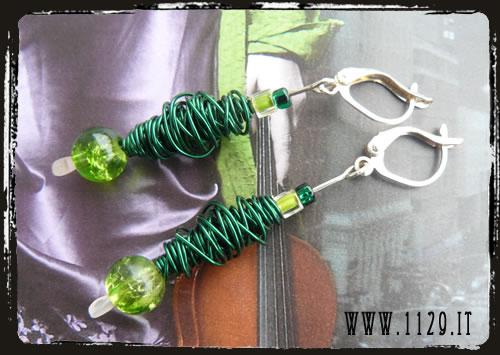 Orecchini verdi wire - Green earrings MEHGVEWO