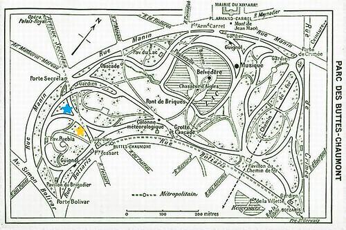map of parc buttes chaumont