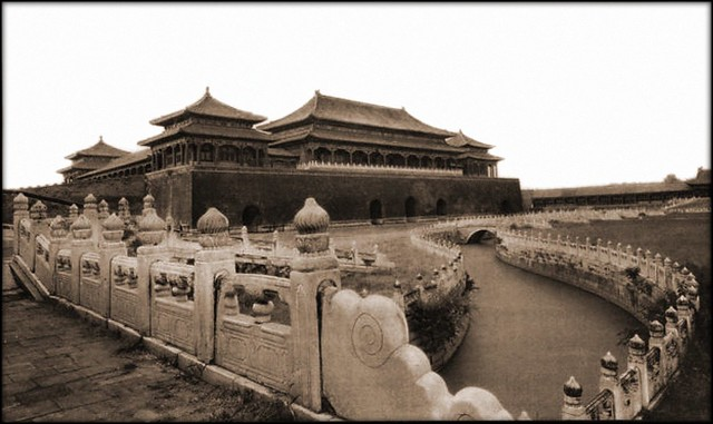 The Meridian Gate, Entrance To The Forbidden City, Peking China [1927] Herbert C. White [RESTORED]