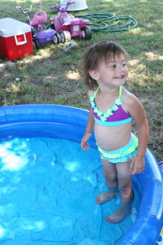 We get the pool ready for Kaidence. Anyone want to join her