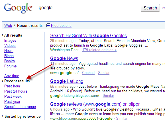 Google Options After Real Time Search