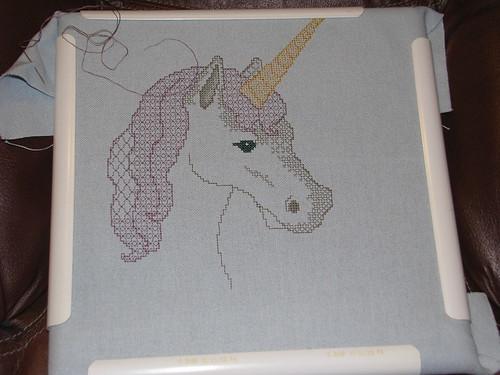 progress on blackwork unicorn cross stitch