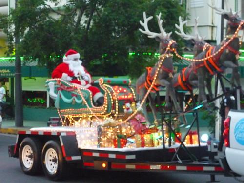 Santa arriving with his reindeers in San Juan, PR