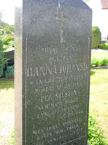 The old tomb stone of a murdered woman in the 19th century in Sweden