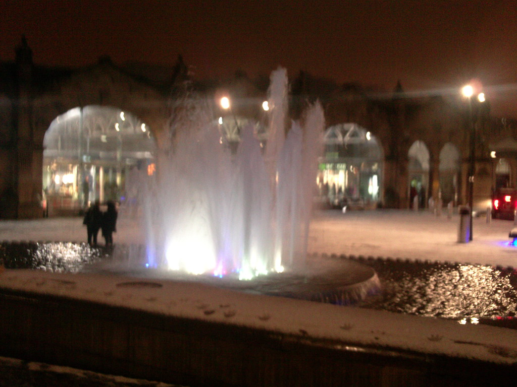 Sheffield station in the snow