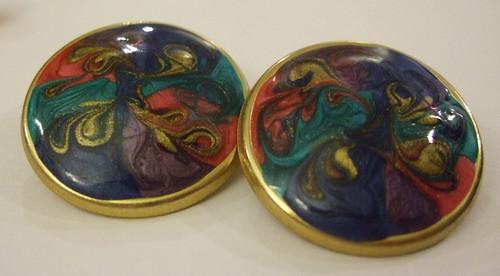 Vintage Earrings Round Swirls