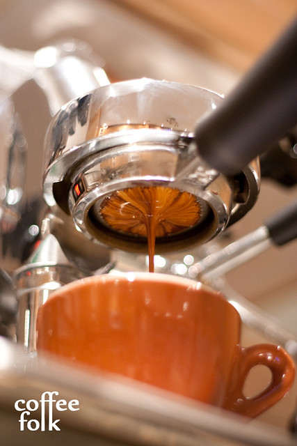 Colombian Suaza Micro-Lot, Direct Trade pouring on the naked portafilter.