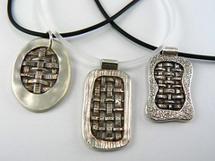 Three Woven Silver Pendants (Class Samples)