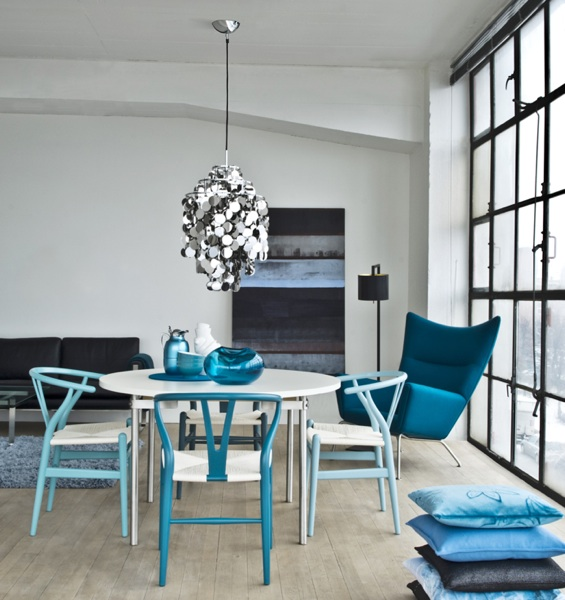 Blue Wishbone Chairs