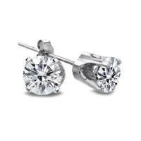 1/4 Ct Round Diamond 14K White Gold Stud Earrings, H-I, I2-I3