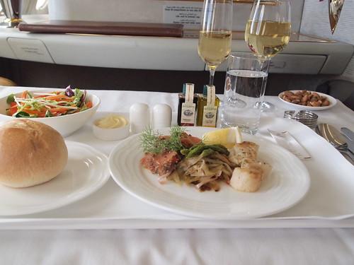 エミレーツA380ファーストクラス機内食
