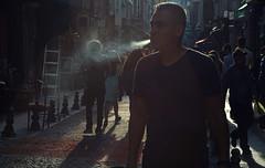 backlit street