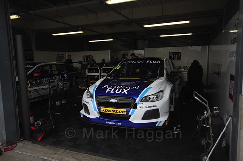 Josh Price's car in the garage before race two at the British Touring Car Championship 2017 at Donington Park