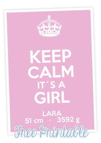 Personalisiertes Printable: Keep Calm it´s a Girl