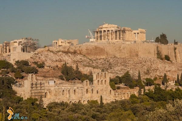 Vista do Pártenon/Acrópole desde o monte Filopapo (Atenas, Grécias)