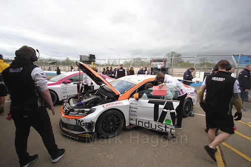 Will Burns returns to the pits after race two at the British Touring Car Championship 2017 at Donington Park