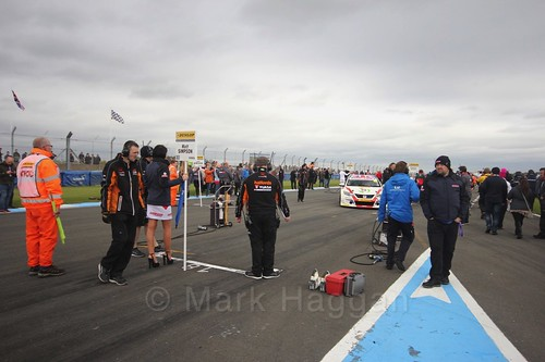 Matt Simpson heads to the grid before race two at the British Touring Car Championship 2017 at Donington Park