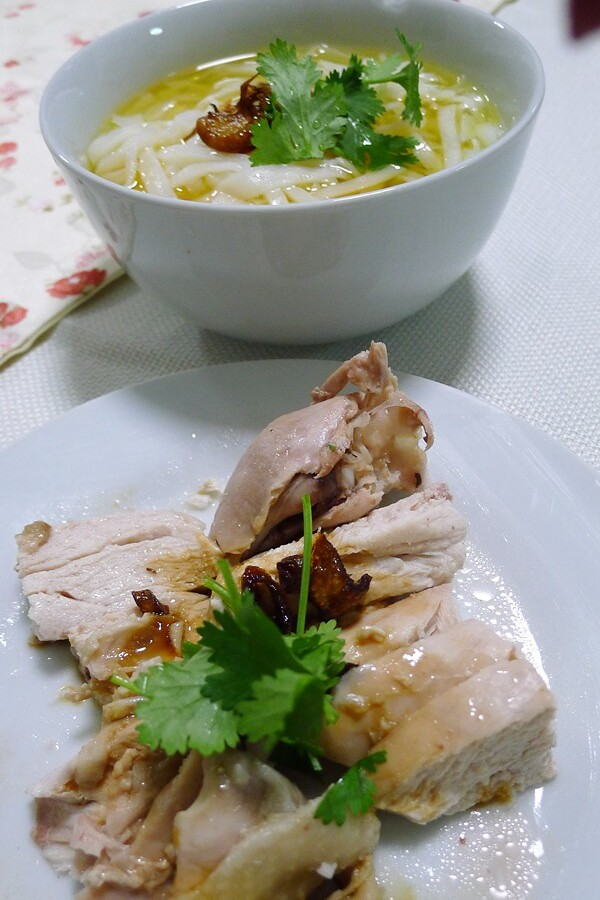 Flat rice noodles soup