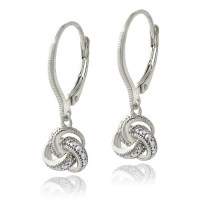 925 Silver Diamond Accent Love Knot Dangle Leverback ...