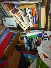 Bookshelf clutter