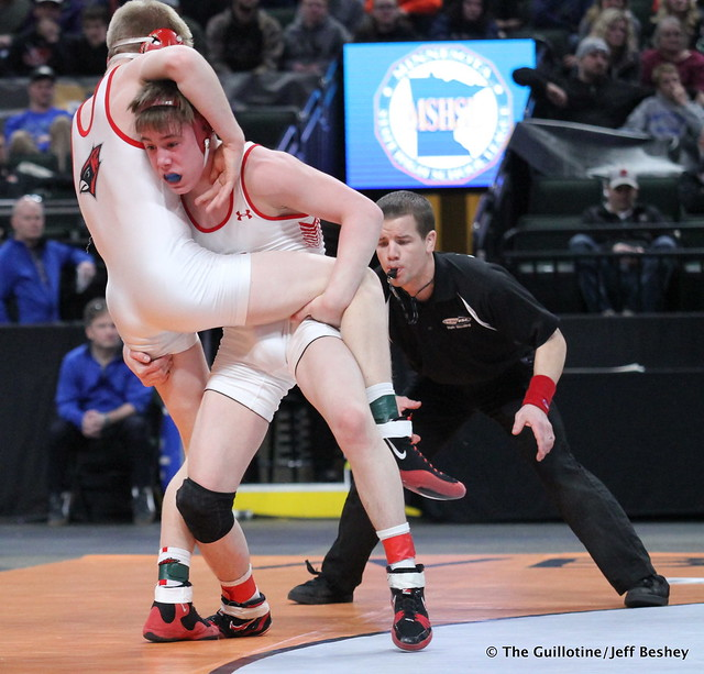 126AAA - 1st Place Match - Carson Manville (Shakopee) 43-1 won by decision over Cael Carlson (Willmar) 36-7 (Dec 3-2)