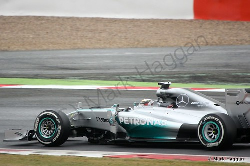 Lewis Hamilton in his Mercedes during qualifying for the 2014 British Grand Prix