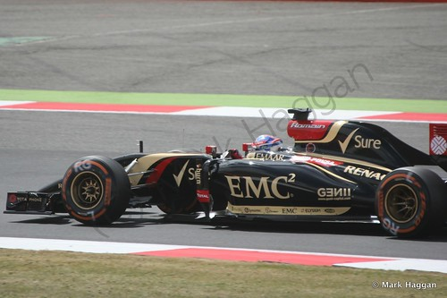 Romain Grosjean in his Lotus during Free Practice 2 at the 2014 British Grand Prix
