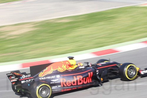 Max Verstappen in his Red Bull in Formula One Winter Testing 2017 at the Circuit de Catalunya