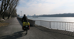 Riding to explore Bratislava along the Danube