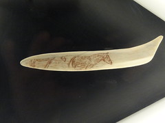 Paleolithic carving on a bone tool