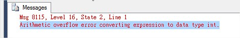 Arithmetic overflow error converting expression to data type int