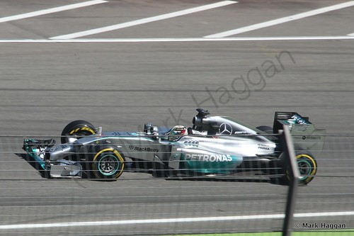 Lewis Hamilton in his Mercedes during Free Practice 2 at the 2014 German Grand Prix