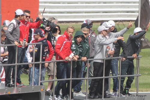The Drivers' Parade at the 2014 British Grand Prix