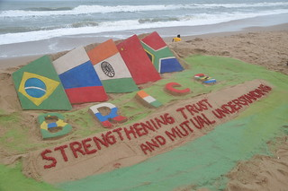 Sri Manas Kumar Sahoo created sand sculpture to feature better cooperation among BRICS countries