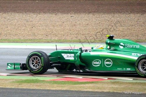 Marcus Ericsson in his Caterham during qualifying for the 2014 British Grand Prix