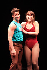 """Adam Fleming (Al) and Katie Huff (Kristine) perform """"Sing"""" in A Chorus Line, produced by Music Circus at the Wells Fargo Pavilion June 24 – 29, 2014. Photos by Charr Crail."""