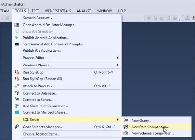 SQL Server Data tools -> Data Comparison / Schema Comparison