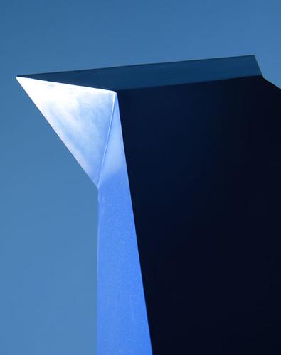 blue sculpture at Van Dusen