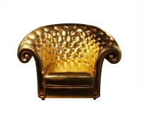 4003 GOLD CHAIR ECO LEATHER TUFTED WITH ROLLED ARM AND BAC