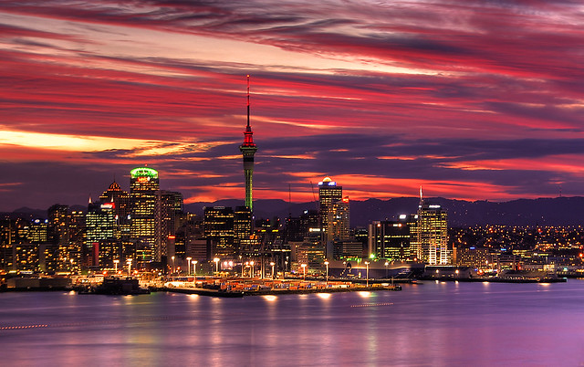 Auckland Harbour sunset