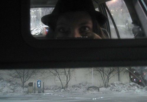 Diana in car, with that hat