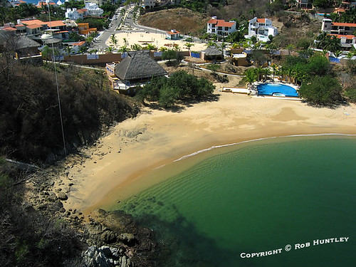 Playa Tejoncito, Huatulco, Mexico. Residencial Conejos in the background - kite aerial photograph.