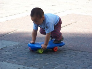 Child playing at Wien (St.Stephen's Square)